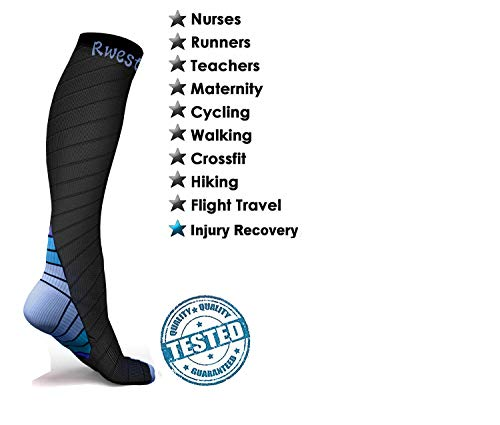 Rwest X Calcetines de compresión Medias de compresión para Hombres y Mujeres, Deporte, Trotar, Correr, Volar, Viajar, varicosas,Embarazo y médicos, Aumentar la circulación sanguínea, la regeneración…
