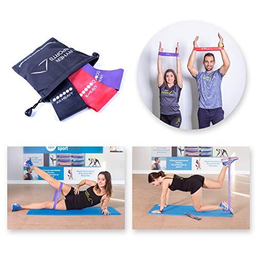 Ryher Bandas Elasticas de Fitness - 3X Bandas de Resistencia - Gomas Elasticas Extra Fuertes + Bolsa - Set de 3 Cintas Elásticas Musculacion, Fitness, Crossfit, Yoga, Pilates, Natación, Fisioterapia