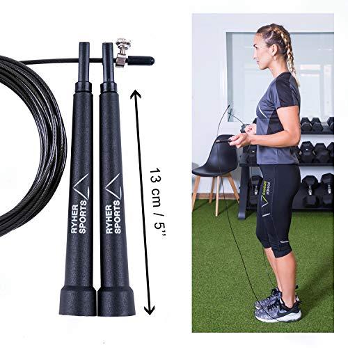 Ryher Cuerda para Saltar Kit - Comba Crossfit, Fitness y Ejercicio (Negro)