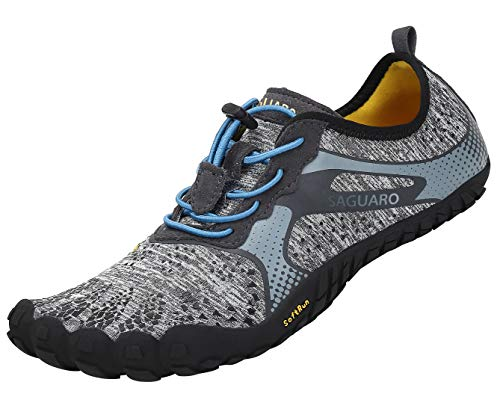SAGUARO Hombre Mujer Barefoot Zapatillas de Trail Running Minimalistas Zapatillas de Deporte Fitness Gimnasio Caminar Zapatos Descalzos para Correr en Montaña Asfalto Escarpines de Agua, Gris, 42 EU