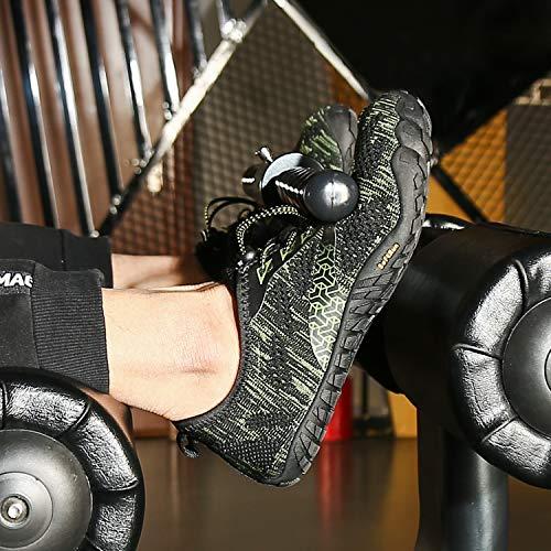 SAGUARO Hombre Mujer Barefoot Zapatillas de Trail Running Minimalistas Zapatillas de Deporte Fitness Gimnasio Caminar Zapatos Descalzos para Correr en Montaña Asfalto Escarpines de Agua, Verde, 41 EU