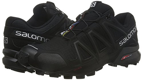 Salomon Speedcross 4, Zapatillas de Trail Running para Hombre, Negro (Black/Black/Black Metallic), 42 EU