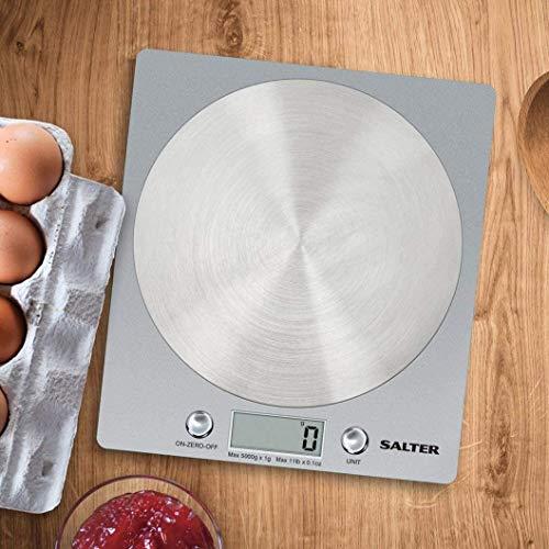 Salter 1036 SVSSDR báscula electrónica de Cocina, Ultrafino con Plataforma de Disco de Acero Inoxidable, función de adición y pesaje, Capacidad de 5 kg, 15 años de garantía, Gris, Plateado