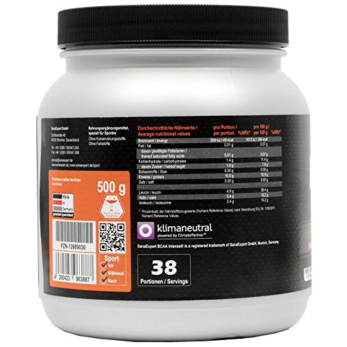SanaExpert BCAA Intense, bebida deportiva con aminoácidos, L-leucina, L-valina y L-isoleucina, polvo, 500 g