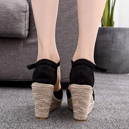 Sandalias de Mujer Plataforma,JiaMeng Moda Polaco Dull Costura Peep Toe Cuñas Hasp Sandalias Zapatos Flatform Sandalias Mujer Cuña Alpargatas Plataforma (Negro#5, 33)