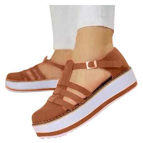 Sandalias de plataforma para mujer, de Scenxion, con puntera redonda, tacón grueso, correa de hebilla, informal, con hebilla, color Marrón, talla 40.5 EU