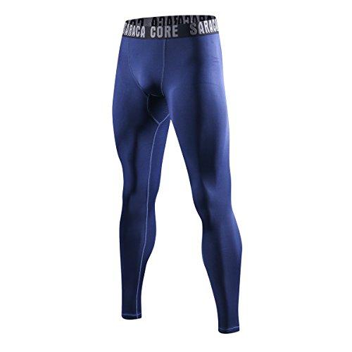 saracacore Pantalones Deporte Mallas Largas Compresión Leggings Hombre (/ Deep Royal Blue, Small)