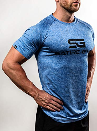 Satire Gym Camiseta de Fitness para Hombre - Ropa Deportiva Funcional - Adecuada para Workout, Entrenamiento - Slim fit (Azul Moteado, M)