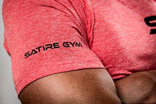 Satire Gym Camiseta de Fitness para Hombre - Ropa Deportiva Funcional - Adecuada para Workout, Entrenamiento - Slim fit (Rojo Moteado, M)
