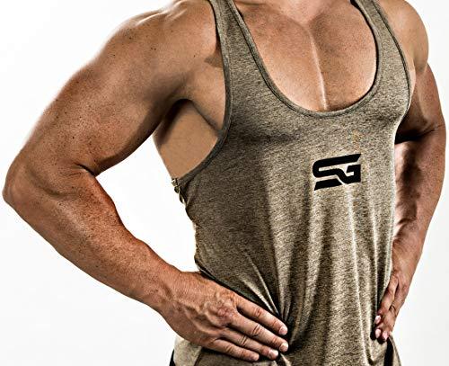 Satire Gym Camiseta Stringer para Hombre - Ropa Deportiva Funcional - Adecuada para Workout, Entrenamiento - Camiseta de Tirantes (Color Caqui Moteado, S)