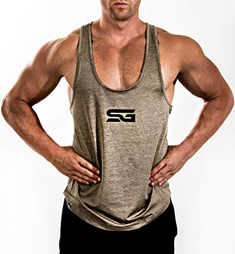 Satire Gym Camiseta Stringer para Hombre - Ropa Deportiva Funcional - Adecuada para Workout, Entrenamiento - Camiseta de Tirantes (Color Caqui Moteado, XXL)