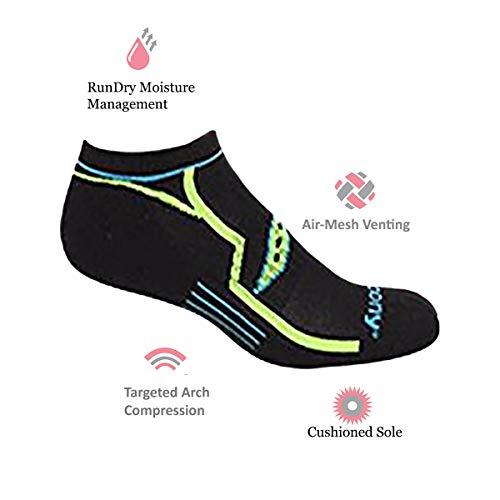 Saucony Men's Multi-Pack Performance Comfort Fit No-Show Socks, Black 6, Large (Shoe: 8-12)