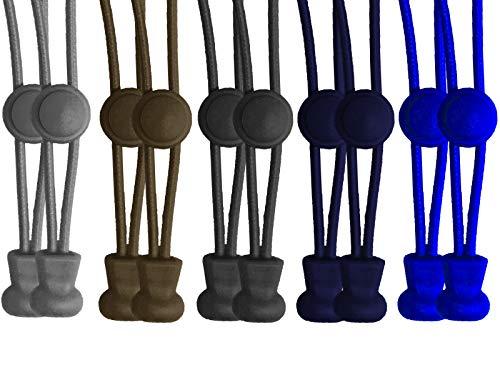 Scarlet sport - Cordones flexibles (5 pares, 10 unidades de 120 cm, elásticos, con cierre rápido) 1 Braun +1 D-grau +1 Grau +1 Navy +1 Blau