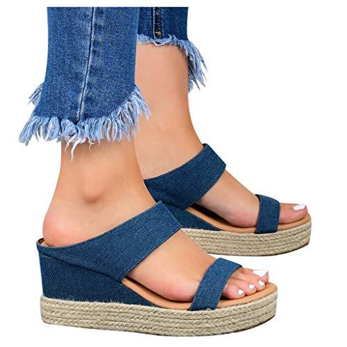 Scenxion - Sandalias de cuña para mujer con plataforma de paja con puntera abierta, tacón medio y cuña sin cordones, sandalias de playa transpirables para mujer, color Azul, talla 38.5 EU