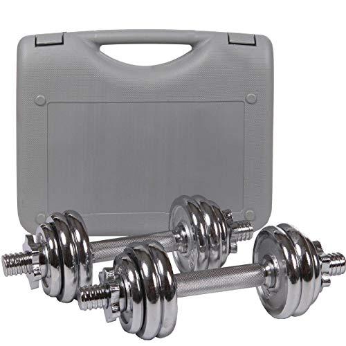 ScSPORTS - Maletín con pesas y mancuerna de cromo, 15kg ajustable