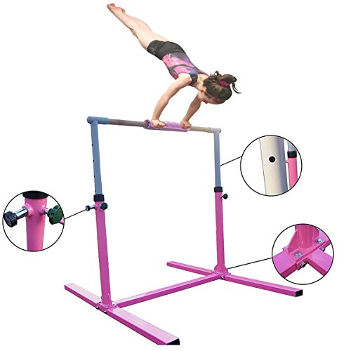 Seababyhouse 4ft barras gimnasia gimnasio Niños Junior Kip High Bar equipo para gimnasio de entrenamiento Bar Ajustable Horizontal Mejor regalo de la escuela [Kid Gymnastics Training Bar]-rosado