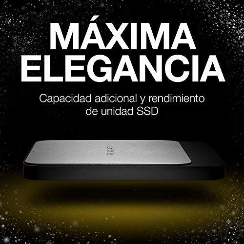 Seagate Fast SSD, 1TB, Disco duro externo portátil SSD, USB-C, USB 3.0 para PC, ordenador portátil y Mac, 2 meses de suscripción a Adobe CC Photography (STCM100040)