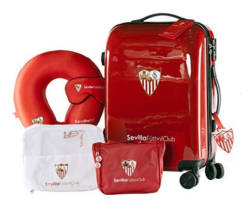 Sevilla Fútbol Club - Pack de Viaje Maleta y Accesorios - Producto Oficial del Equipo Temporada 19/20. Incluye Almohada Cervical, Organizador de Equipaje, Neceser, Antifaz y Etiqueta de Equipaje.