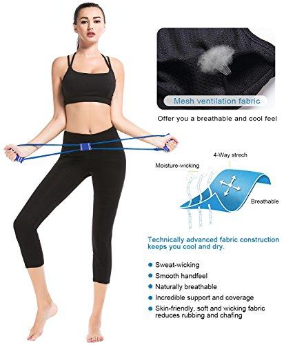 SHAPERX Mujeres Sports Yoga Bra Alto Impacto Fuerte Asimiento Busto Stretch Acolchado Negro Aptitud Deporte BH,UK-DT139-Black-XL