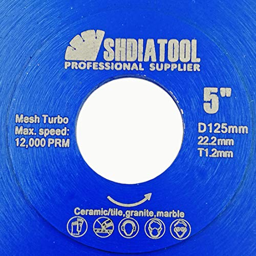 SHDIATOOL Disco Tronzador de Diamante 125mm con X Malla Turbo Hoja de Sierra para Porcelana Azulejos Cerámica Mármol