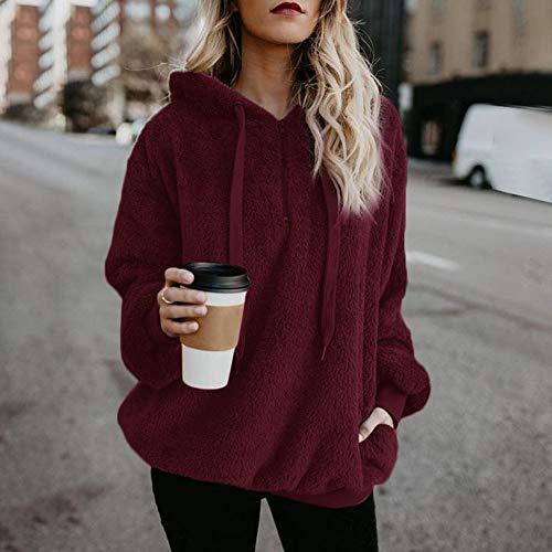 SHOBDW Liquidación Venta Mujer Sudadera con Capucha Suelta Tallas Grandes Jersey de Mujer Jersey otoño Invierno Manga Larga Remata Abrigo cálido(Vino Rojo,L)