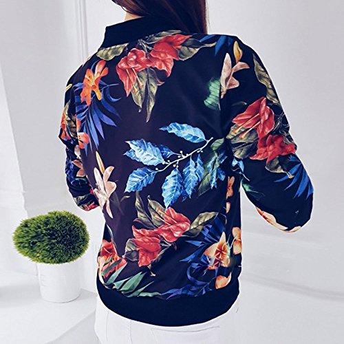 SHOBDW Liquidación Venta Mujer Sudadera Suelta Ladies impresión Flor Cremallera Chaqueta Outwear Floja otoño Invierno Manga Larga Tops (Azul,XL)