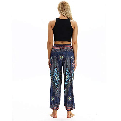 SHOBDW Mujer Hombre Pantalón Capri Moda Casual Suelta Elástica Cintura Pantalones Deportivos Hippy Pantalones de Yoga Baggy Colorido Aladdin Boho Harem(La Marina)