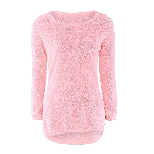 SHOBDW Mujer Suéter para Mujer Cuello Redondo Cárdigan Ocasional Sólido Suelto Otoño Invierno Tops de Manga Larga Cálido Prendas de Punto Jersey Jerséis Blusa Abrigo Vestido(Rosa,2XL)