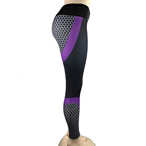 SHOBDW Mujeres Athletic Impresión 3D Cintura Alta Estiramiento Yoga Flaco Gimnasio Fitness Medias para Correr Entrenamiento Deportivo Pantalones recortados Entrenamiento Capri Leggings(PúRpura,M)
