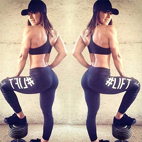 SHOBDW Mujeres Carta de Moda Estirar Imprimir Push Up Entrenamiento Leggings Gimnasio Deportes Gimnasio Cintura Alta Mallas para Correr Pantalones de Yoga Pantalones Deportivos Suaves(Negro,S)