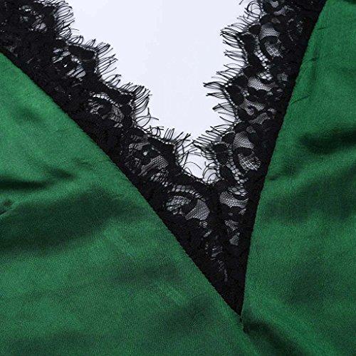 SHOBDW Mujeres de Encaje Chaleco Superior sin Mangas Casual Blusa de Primavera Tops Camiseta (Verde, L)