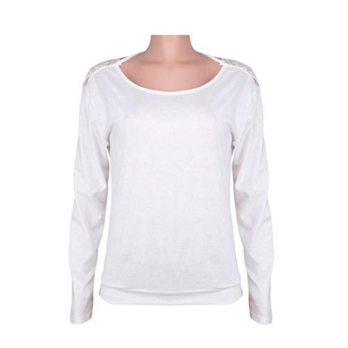 SHOBDW Mujeres de Manga Larga sólido sin Espalda O-Cuello de Encaje Sexy Sudadera Pullover Tops Blusa de otoño Camisa(Blanco,L)