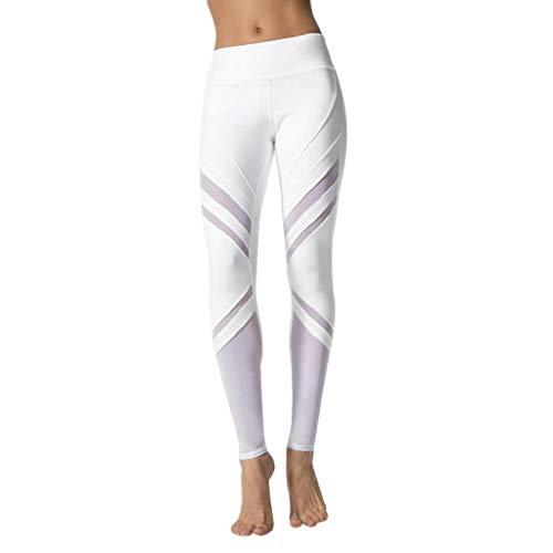 SHOBDW Mujeres Entrenamiento Yoga Pantalones Sólido Cintura Alta Deportes Gimnasio Correr Medias Estiramiento Flaco Push Up Fitness Capri Leggings Pantalones Deportivos(Blanco,XL)