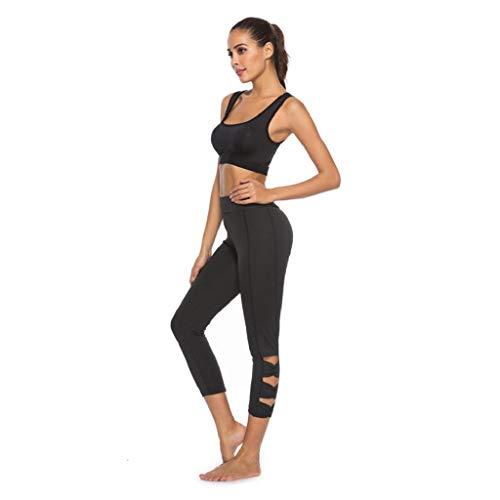 SHOBDW Pantalones Mujer Moda Ahueca hacia Fuera SóLido Sexy Stretch Cintura Alta Leggings Gimnasio Entrenamiento Deportes Gimnasio Mallas para Correr Capri Yoga Athletic Pantalones