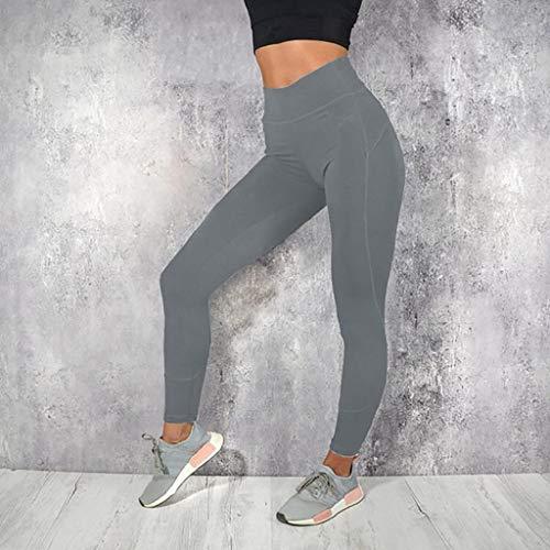 SHOBDW Pantalones Mujer Moda Sólido Delgado Suave Entrenamiento Yoga Leggings Medias Fitness Deportes Gimnasio Correr Yoga Capri Cintura Alta Estiramiento Pantalones Deportivos