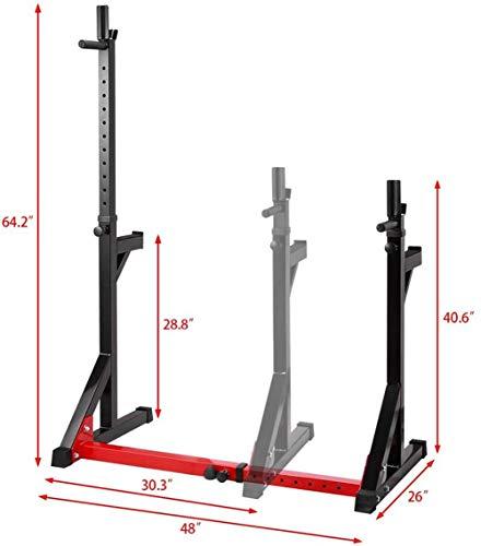 Siamés Tipo Squat Rack de múltiples Funciones casera de aparatos de Ejercicios Press de Banca Altura y Anchura Ajustable