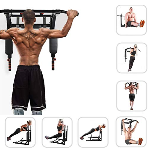 Sinbide Fitness Barra de Dominadas Aprobada por Gimnasios Barra de dominadas para Pared Wall Pull Up Bar Barra de Tracción Entrenamiento y Resistencia Training Multifuncional Workout Bar Negro