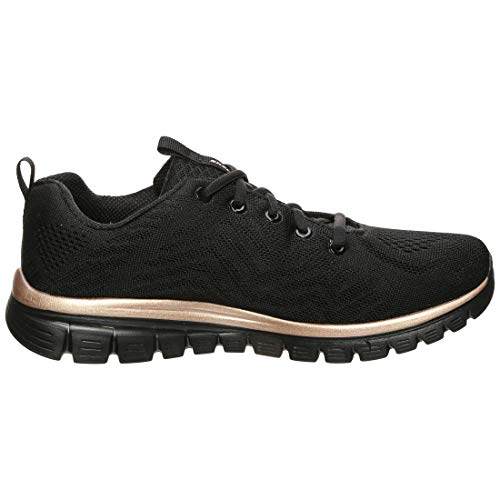 Skechers - Zapatillas deportivas - Modelo Graceful Get Connected Black Rose Gold - Zapatillas de mujer - Material tela negra - Modelo n. 12615 BKRG Negro Size: 38 EU