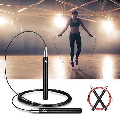 SKL Cuerda de Salto Velocidad de Bloqueo automático Cuerda de Salto para Entrenamiento Cruzado Acondicionamiento físico Acondicionador de Grasa Pérdida de Grasa Caja de Regalo Gym Negro