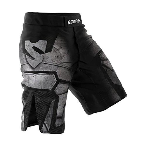 SMMASH Dark Knight Deporte Profesionalmente Pantalones Cortos MMA para Hombre, Shorts MMA, BJJ, Grappling, Krav Maga, Material Transpirable y Antibacteriano, (M)