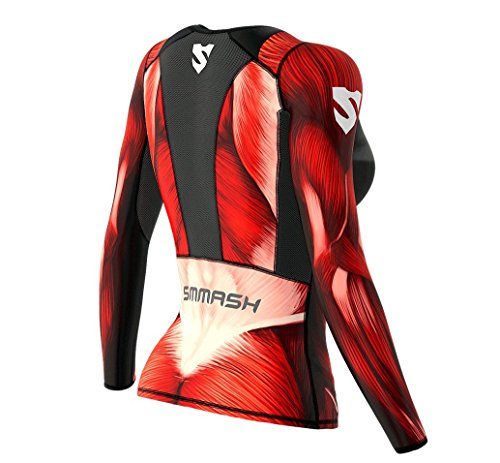 SMMASH Muscle Womens Long Sleeve Compression Tops, Breathable and Light, Functional Thermal Shirt for Crossfit, Fitness, Yoga, Gym, Running, Sport Long Sleeved, Antibacterial Material… (XS)