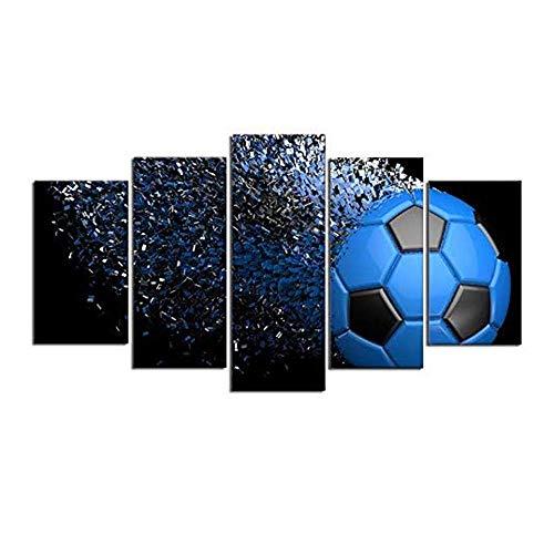 smzzz Artículos para el hogar Accesorios Deportivos Arte de la Pared Fútbol Deportes Decoración de la Pared Lienzo Resistente al Agua Resistente a los Rayos UV Listo y fácil de Colgar