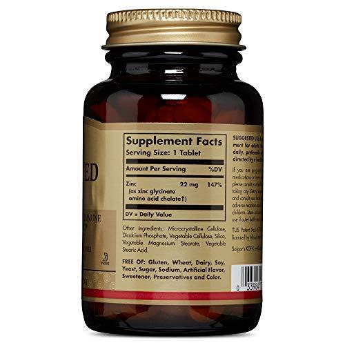 Solgar® Zinc Quelado, 100 Comprimidos - Protege del daño oxidativo y mantiene tu pelo, piel y uñas. Apto para veganos