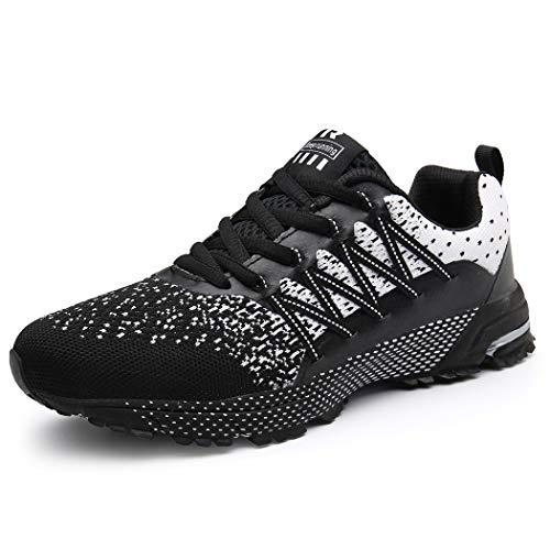 SOLLOMENSI Zapatillas de Deporte Hombres Running Zapatos para Correr Gimnasio Sneakers Deportivas Padel Transpirables Casual Montaña 40 EU A Negro