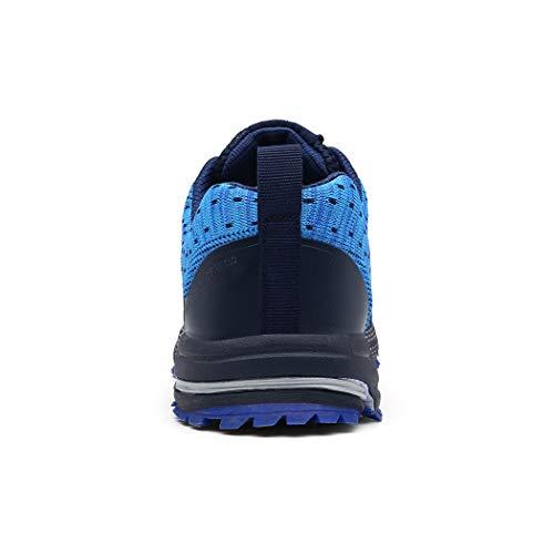 SOLLOMENSI Zapatillas de Deporte Hombres Running Zapatos para Correr Gimnasio Sneakers Deportivas Padel Transpirables Casual Montaña 44 EU A Azul