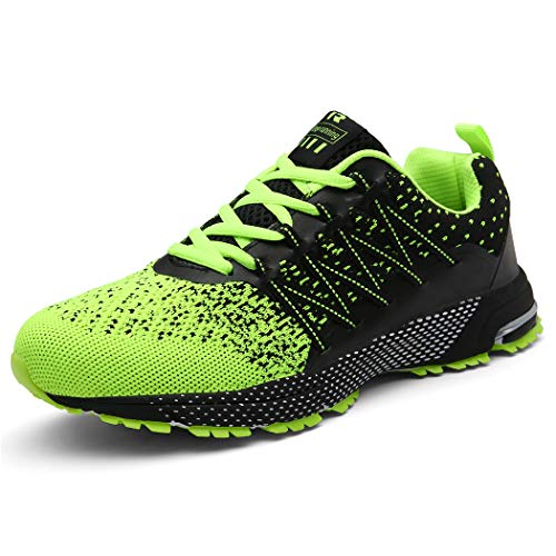 SOLLOMENSI Zapatillas Hombres Deporte Running Zapatos para Correr Gimnasio Sneakers Deportivas Padel Transpirables Casual Montaña 42 EU A Verde