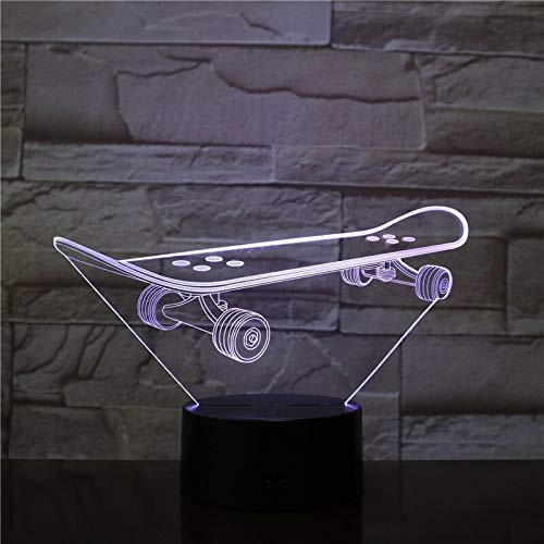 Solo 1 artículo 3D Skateboarding 3D LED Lámpara de noche Dormitorio romántico Lámpara de mesa Regalos de San Valentín para amantes Parejas Niños Luz para dormir