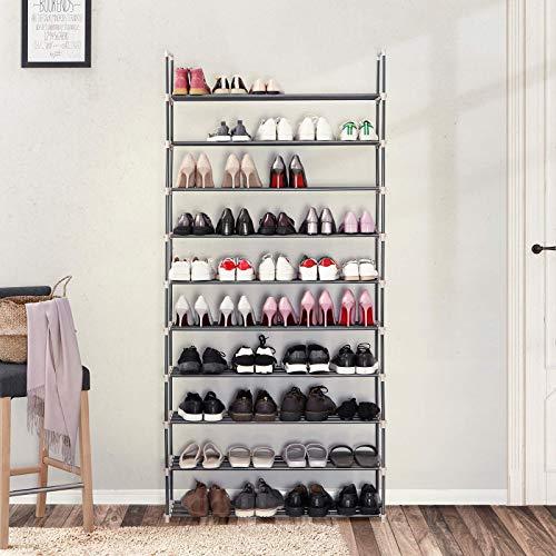 SONGMICS DIY Zapatero de 10 Niveles Estantería con Capacidad máx. de 50 Pares de Zapatos Color Gris LSA10G