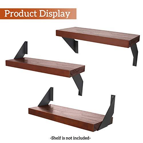 Soportes de estantería Hierro resistente, soporte multifuncional de 20cm para estanterías decorativas industriales flotantes de bricolaje, 2 pares