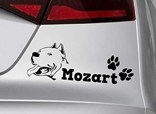 spb87 Personalizable. Nombre: Amstaff American – Paw para Perro en Forma de Hueso Personalizado, Perros, Animales, Animales, Vinilo Adhesivo con Patas Dorado Autoadhesivo para Perro.